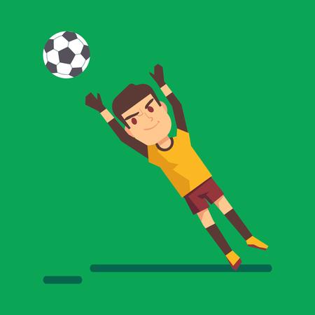 arquero futbol: Portero de fútbol atrapar una bola ilustración. jugador joven salto ilustración Vectores
