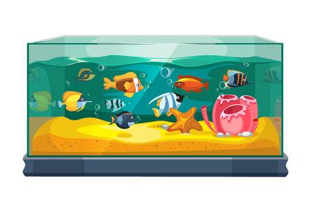 Cartoon freshwater fishes in tank aquarium vector illustration. Exotic cartoon fish in aquarium illustration