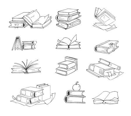Doodle, hand drawn sketch books vector set. Stack of books, and open book illustration
