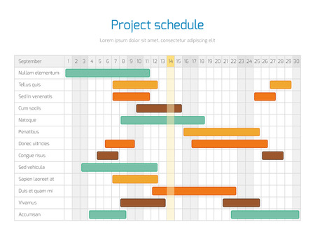 Project schedule chart, overview planning timeline vector diagram. Project infographic business plan illustration