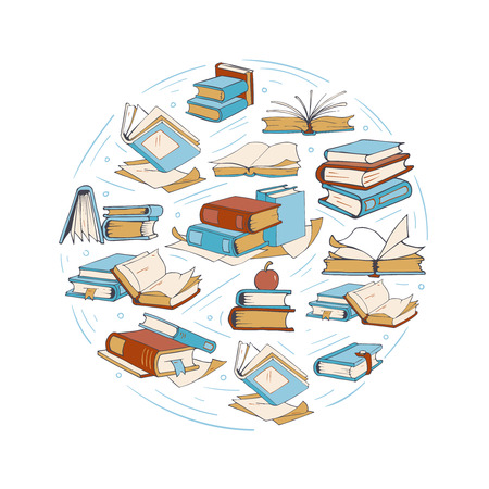 Sketch doodle drawing books, library, book club vector logo. Round of badge with open books, page of textbook for reading illustration