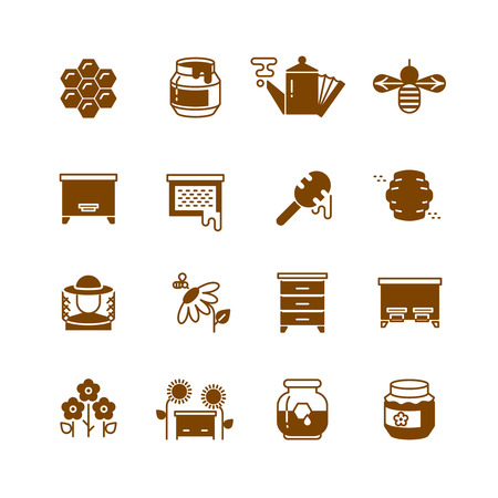 beeswax: Bee hive, honey, bee honeycomb vector icons. Sweet honey and natural organic food illustration