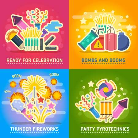 pyrotechnics: Crackers, fire show, holiday party, pyrotechnics festival vector concepts. Festival with salute, set of banner party and firework illustration Illustration
