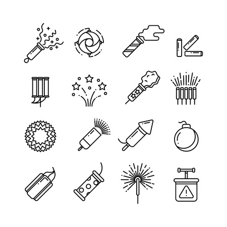 detonator: Festival dynamite, party fireworks, festive spark, holiday pyrotechnic line vector icons. Set of pyrotechnic icon line style, illustration of dynamite, rocket and detonator