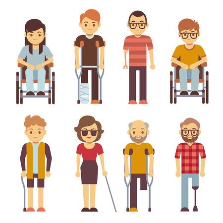 Le persone disabili vector icone piane. Disabile in sedia a rotelle, illustrazione di carattere giovane disabilità