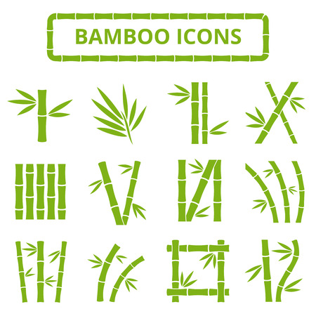Bamboo stalks and leaves vector icons. Asian bambu zen plants isolated on white background. Stick bamboo with foliage, curve frame bamboo illustration Ilustração