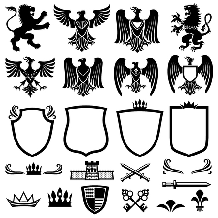 Family coat of arms vector elements for heraldic royal emblems. Crown and shield for royal badge, illustration of royal coat of arm Vettoriali