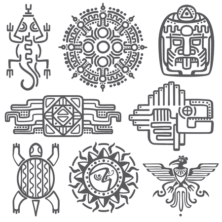 Ancient mexican vector mythology symbols. american aztec, mayan culture native totem patterns. Aztec and mexican tattoo, illustration of mayan symbol tattoo