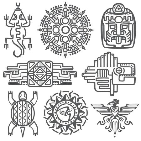 Ancient mexican vector mythology symbols. american aztec, mayan culture native totem patterns. Aztec and mexican tattoo, illustration of mayan symbol tattoo