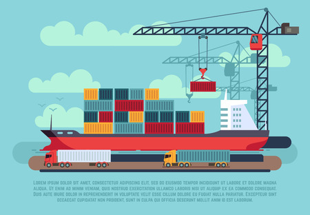 port: Transport cargo sea ship loading containers by harbor crane in shipping port vector illustration. Ship in sea port, cargo ship with container Illustration