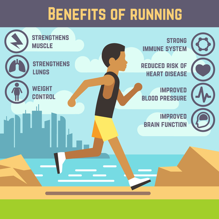 strengthen: Jogging man, running guy, fitness exercise lifestyle cartoon vector concept. Benefit of running infographic, strengthen to brain illustration