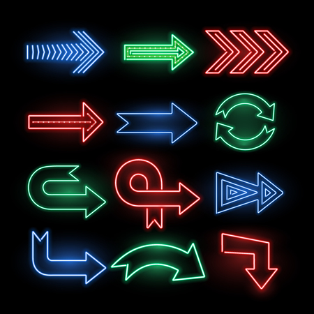 Retro neon direction arrow vector signs, icons. Neon arrow electric illuminated illustration Çizim