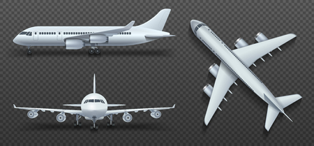 point of view: Aircraft, airplane, airliner in different point of view vector. Set of air plane front side and top illustration