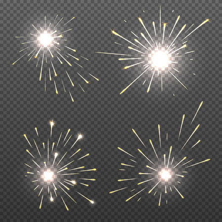 bengal fire: Magic spark effects, burning bengal lights, sparkler fire vector set. Bright magic spark effects for christmas holiday illustration