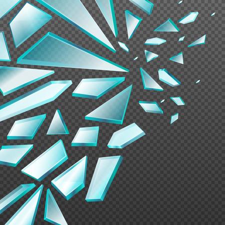 shards: Window with transparent broken glass shards vector background. Glass broken sharp, illustration of parts glass Illustration
