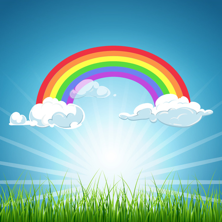 Vector rainbow and clouds blue sky and grass. Background colorful image weather illustration