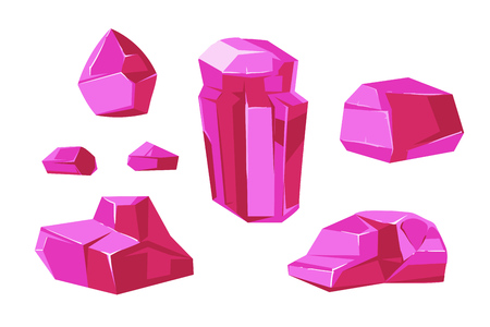 Pink vector crystals white background for mobile games apps. Set of element for gui illustration
