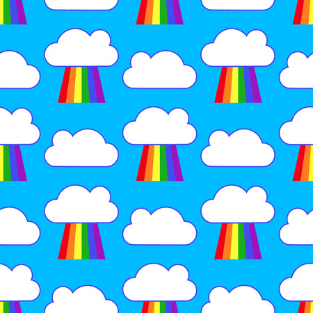 Blue sky with rainbows and clouds seamless pattern. Background weather after rain. Vector illustration