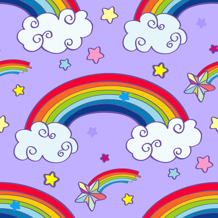 rainbow clouds: Hand drawn cartoon rainbow, clouds and falling stars seamless pattern. Vector illustration Illustration