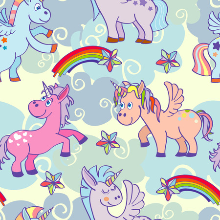 Pastel colored vector hand drawn unicorns seamless pattern. Background with miracle pony illustration