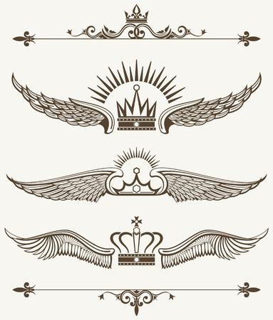 eagle shield and laurel wreath: Set of royal winged crowns design elements. Nobility antique frame. Vector illustration Illustration