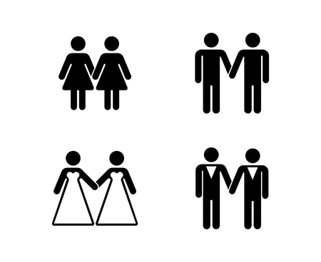 Vector gay wedding icons set white. Woman married icon illustration