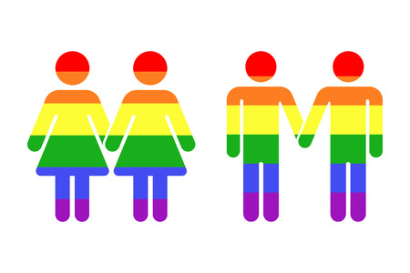 homosexual: Gay LGBT rainbow icons white. Homosexual love vector illustration design