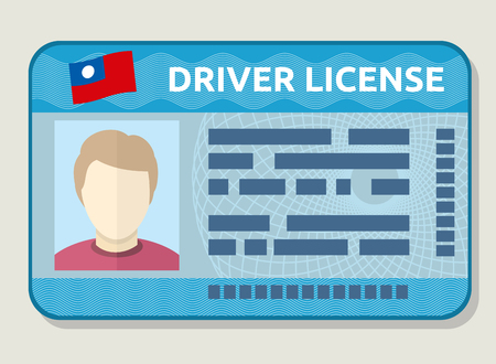 licence: Vector car driving licence, identification card with photo, employee id. Flat sample of driving licence illustration
