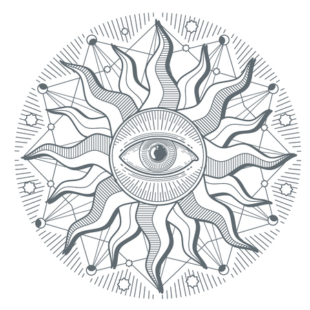 illuminati: All seeing eye illuminati new world order vector freemasonry sign. Illustration of illuminati freemasonry symbol Illustration