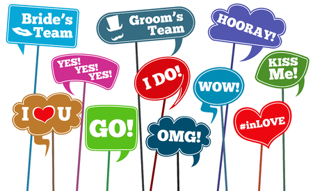props: Funny weddings phrases, brides team vector photo props. Wedding phrase on stick in speech bubbles illustration