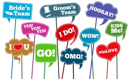 Funny weddings phrases, brides team vector photo props. Wedding phrase on stick in speech bubbles illustration