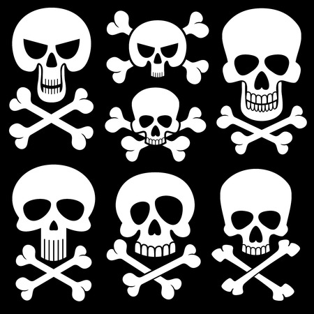 piracy: Piracy skull and crossbones vector icons. Death, scary symbols. Set of white skull and cross bones illustration