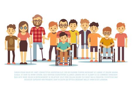 Dzieci niepełnosprawne, dzieci niepełnosprawne, zróżnicowane uczniowie w zestawie wózków inwalidzkich. Grupa osób niepełnosprawnych, ilustracja tolerancji dla osób niepełnosprawnych