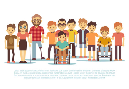 Disabled child, handicapped children, diverse students in wheelchair vector set. Group of disabled people, illustration of tolerance for people with disabilities