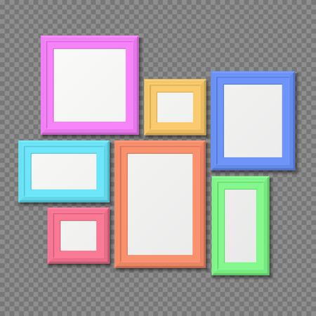 Color Rectangle Portrait Wall Frames Vector Set. Color Photo ...