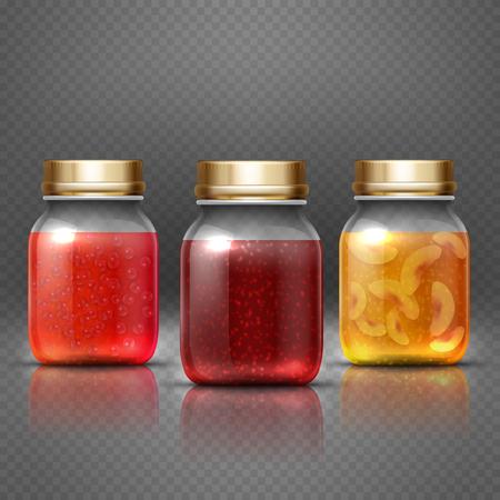 glass jar: Glass container food jar with natural fruit preserves jelly jam vector. Natural fruit jam, illustration of sweet homemade jam