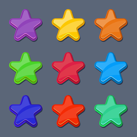 shiny buttons: Vector cartoon color glossy stars, shiny buttons. Set of star for ui, illustration of stars for design game interface