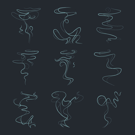 whiff: Aroma, vapor trail, steam, smell, odor vector icons. Smoke line from fire, extinct, illustration set of toxic smoke linear