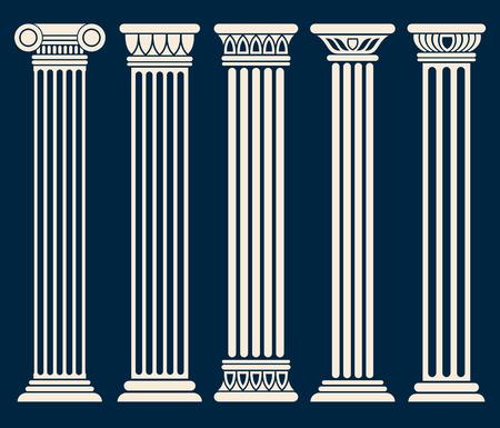 ancient roman: Classic roman, greek architecture columns vector set. Sculpture column for decoration, illustration of ancient historical columns