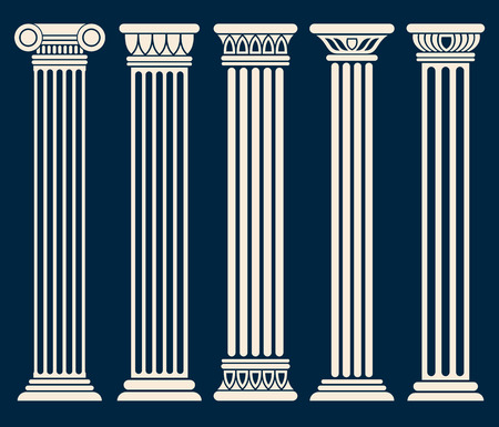 escultura romana: romano clásico, griego columnas configuración conjunto de vectores. columna de la escultura para la decoración, la ilustración de las columnas históricos antiguos