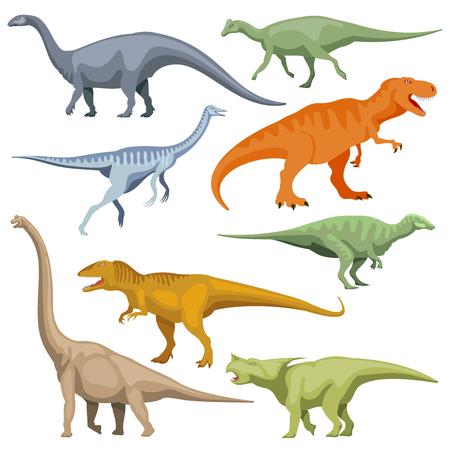 reptiles: Cartoon dinosaurus, reptiles vector. Set of color cartoon dinosaur, illustration of prehistoric predator dinosaur Illustration