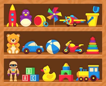 juguetes de madera: juguetes para niños en estanterías de las tiendas de madera. Juguetes en robot de consola y de la motocicleta, los niños juguetes de pato y oso de peluche ilustración