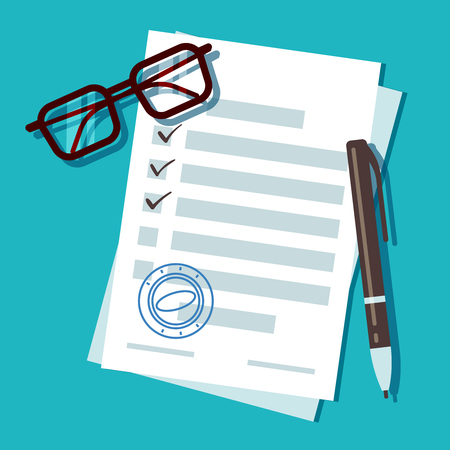 Loan application form document, mortgage vector concept. Document for loan for home, car and business illustration Illustration