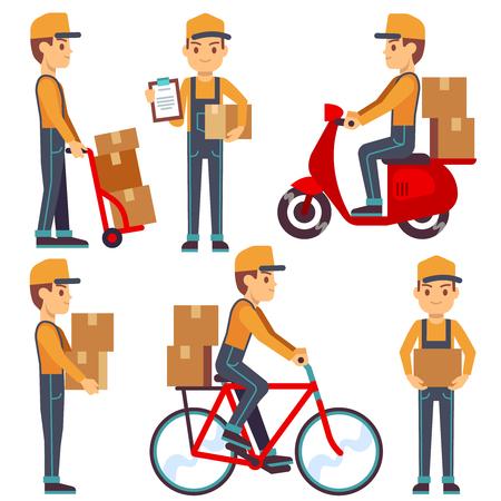 Servizio di consegna l'uomo con i caratteri scatole di Vector set. Courier offre pacchi sul motorino o in bicicletta. Illustrazione di servizi di consegna del corriere