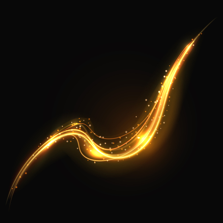 Shiny gold glowing lines swirl trail, golden smoke vector light effect for cosmetics presentation. Curve golden trail illustration, glowing line tail for decoration