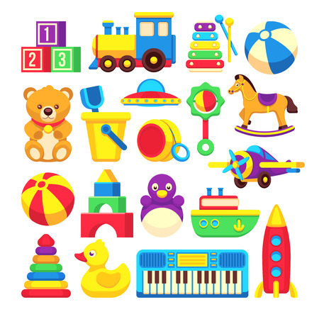 Kids toys cartoon vector icons collection. Colorful toys of set, illustration toy horse and duck Illustration