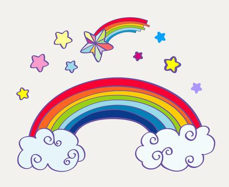 rainbow clouds: Hand drawn cartoon rainbow, clouds and falling stars. Abstract fairy art. Vector illustration