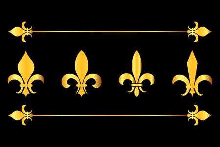 Golden vector fleur de lys design elements black background. French flower lily illustration