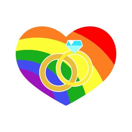 Vector gay LGBT wedding rings rainbow heart. Homosexual marriage and relationship illustration