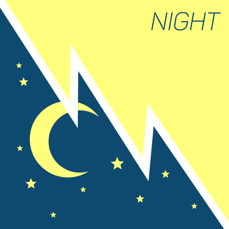 Vector crescent moon and stars night concept. Illustration of dark night with star Illustration